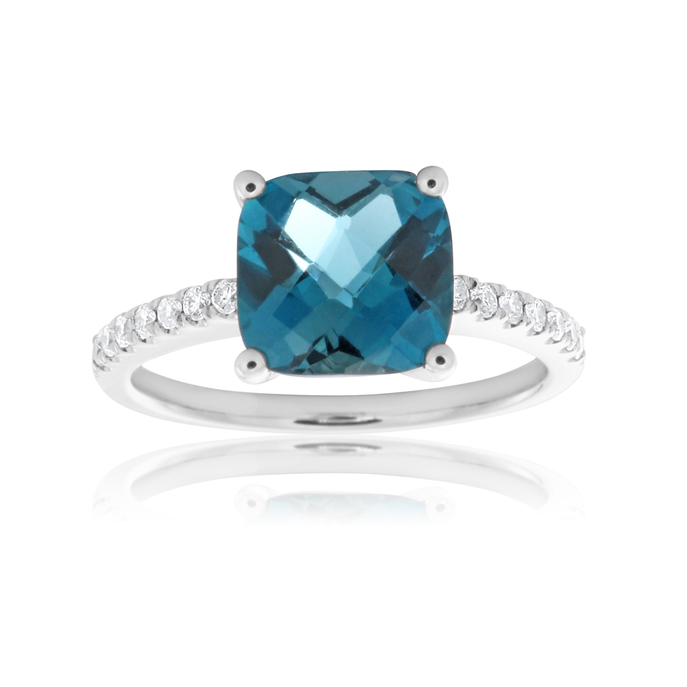 9ct White Gold London Blue Topaz 8mm Cushion Cut Ring with 0.15ct Diamonds