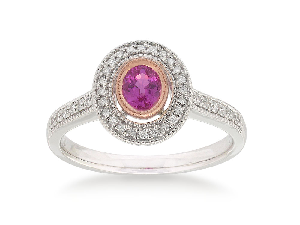 18ct White Gold Pink Sapphire .47ct and Diamond 0.15ct Ring