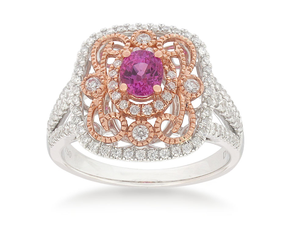 18ct White Gold Pink Sapphire .61ct and Diamond .50ct Ring