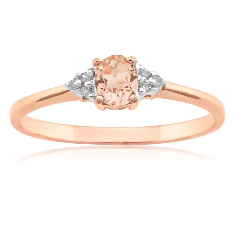 9ct Rose Gold Morganite Ring with Diamonds