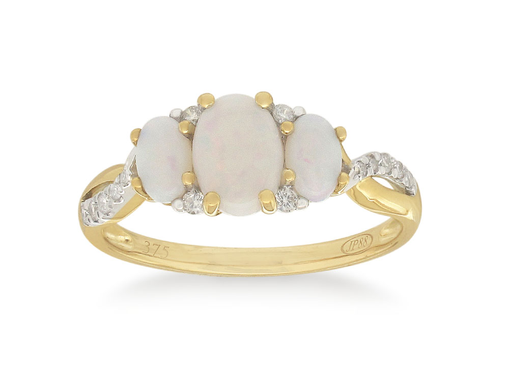 9ct Yellow Gold White Opal & Diamond Ring