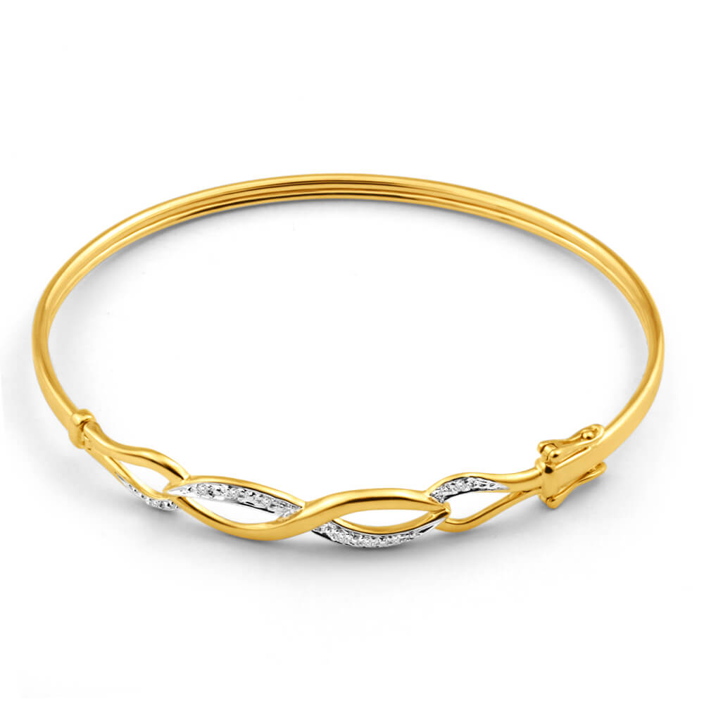 9ct Yellow Gold Diamond Bangle