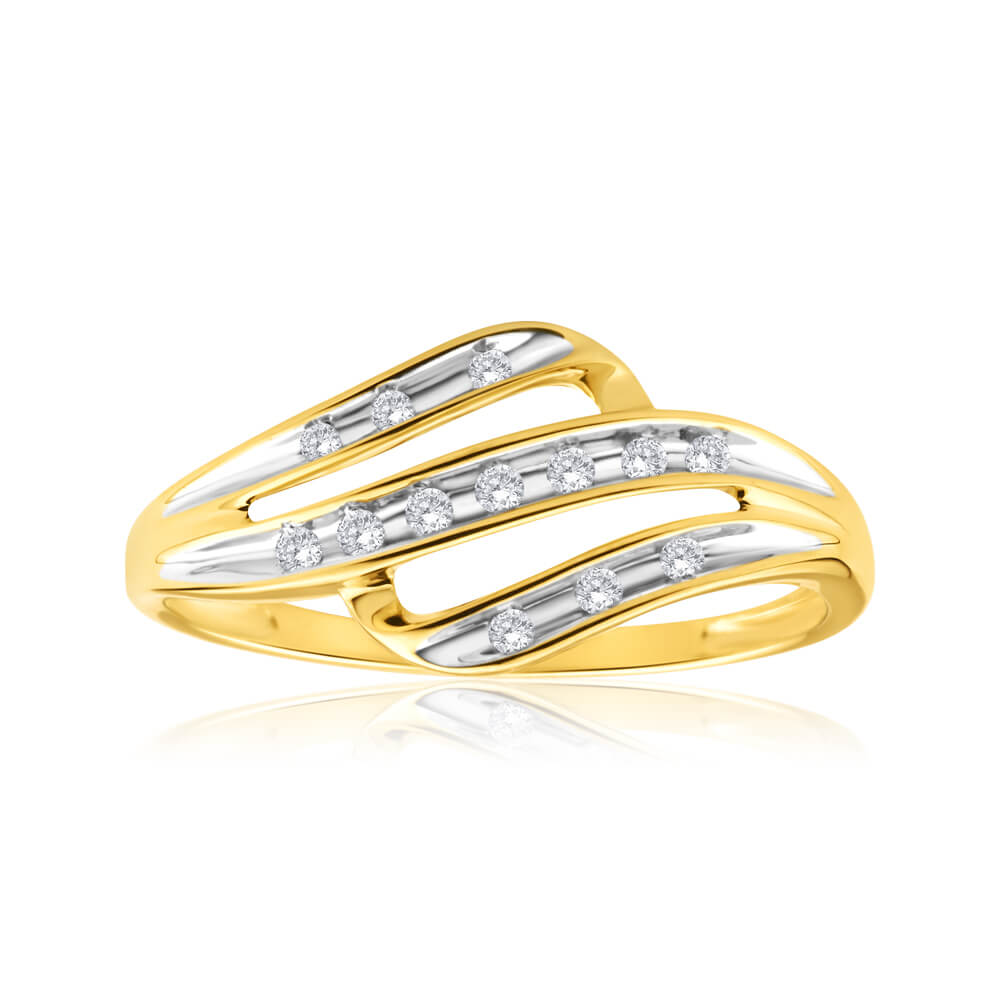 9ct Yellow Gold Diamond Alluring Ring