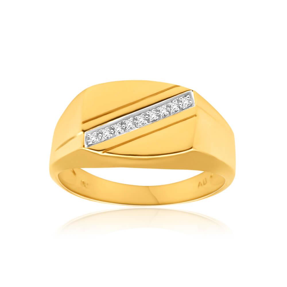 9ct Yellow Gold Diamond Ring  Set with 9 Stunning Brilliant Diamonds