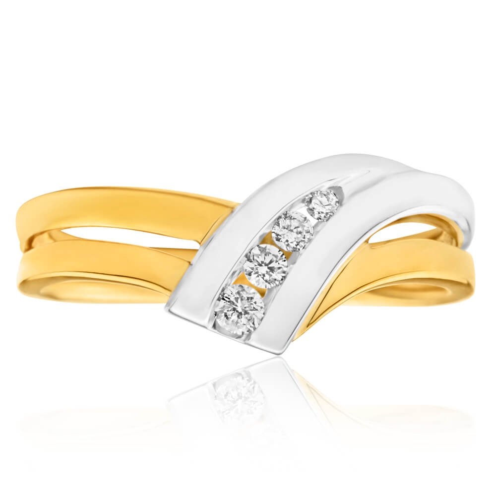 9ct Yellow Gold & White Gold 'Anari' Ring With 0.1 Carats Of Diamonds