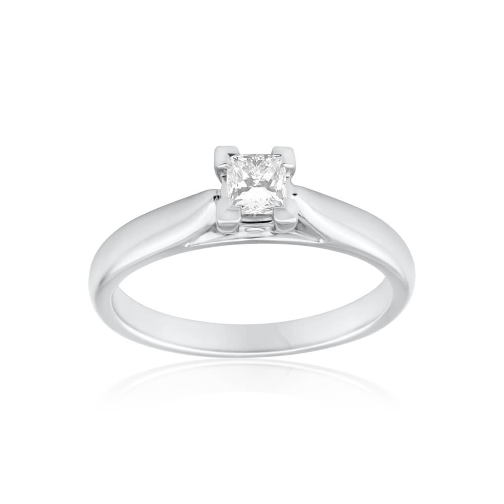 18ct White Gold 'Romania' Solitaire Ring With 0.3 Carat Diamond