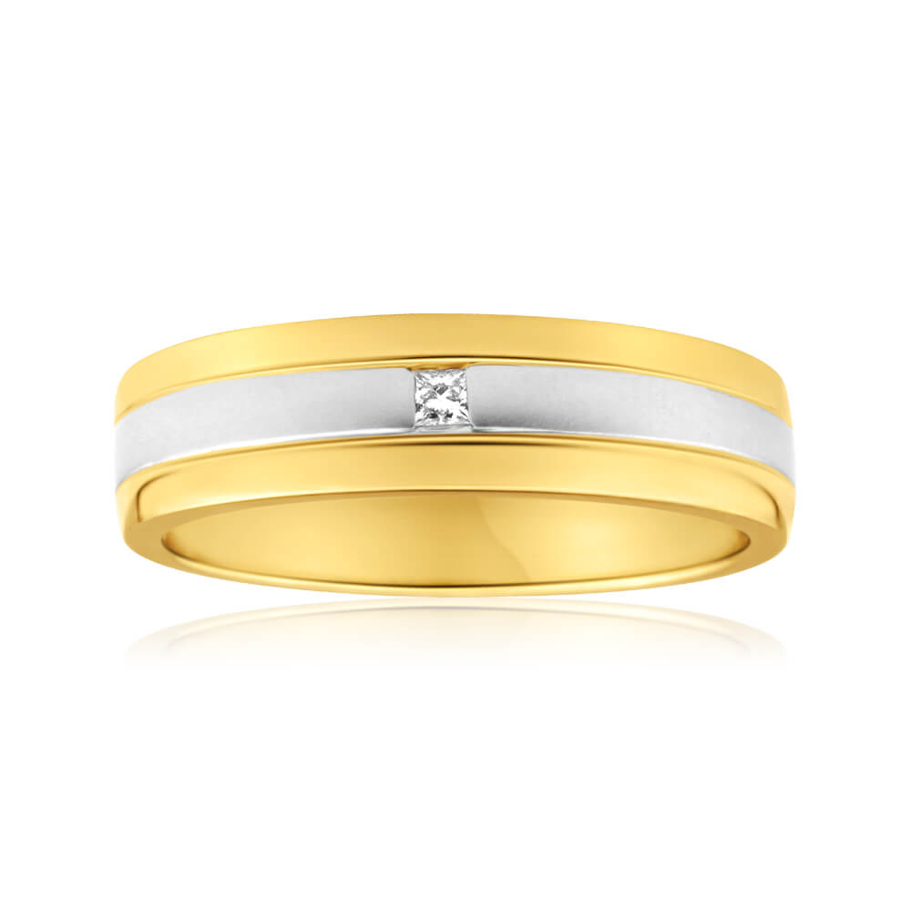 9ct Yellow Gold & White Gold Grooved Mens Diamond Ring