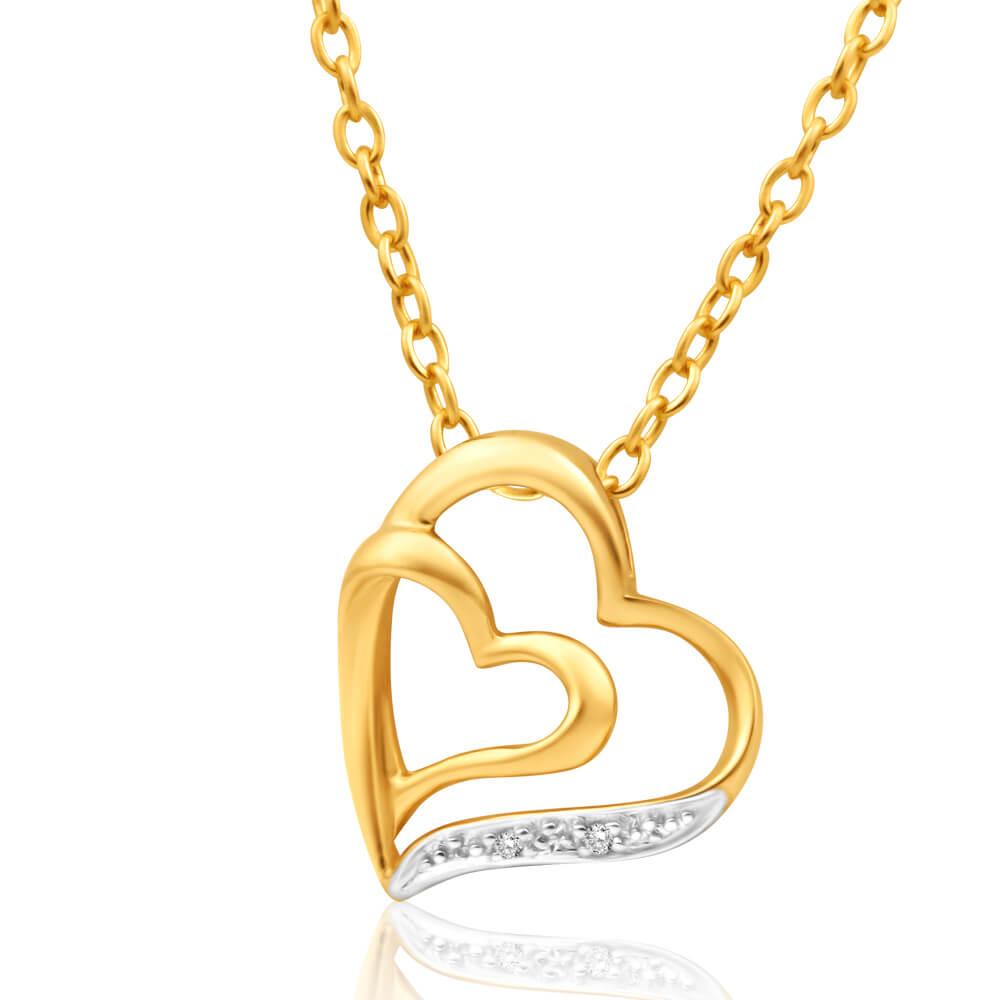 9ct Elegant Yellow Gold Diamond Pendant