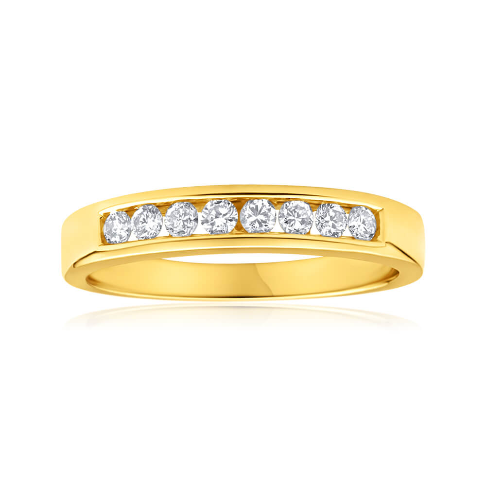 18ct Yellow Gold Ring With 8 Diamonds Totalling 0.2 Carats