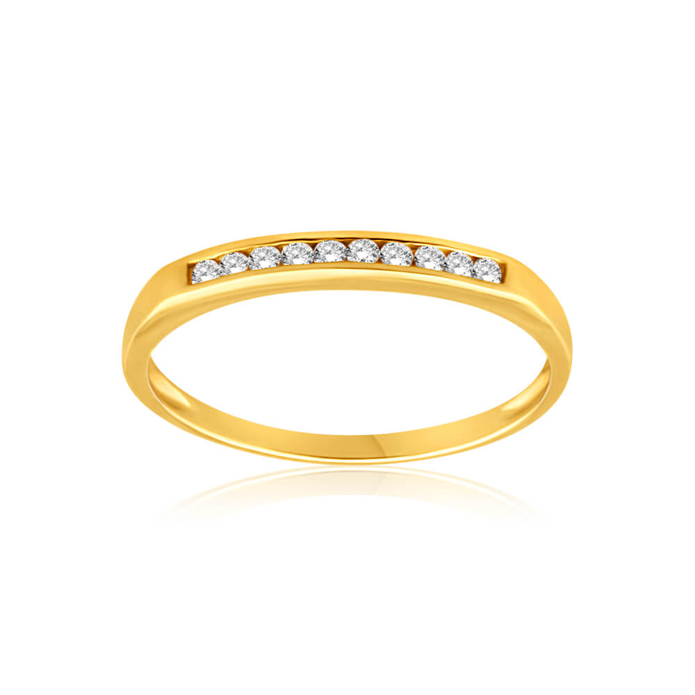 9ct Yellow Gold Diamond Ring Set with 10 Stunning Brilliant Diamonds
