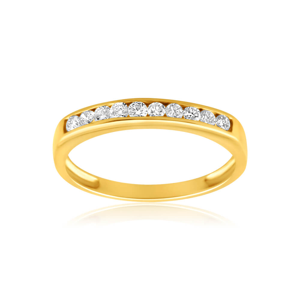 9ct Yellow Gold Diamond Ring Set with 10 Brilliant Diamonds