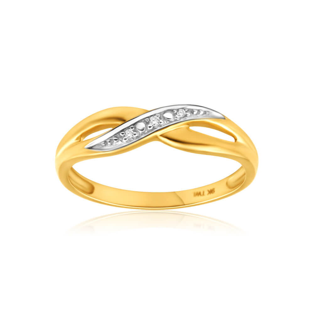 9ct Yellow Gold Crossover Diamond Ring