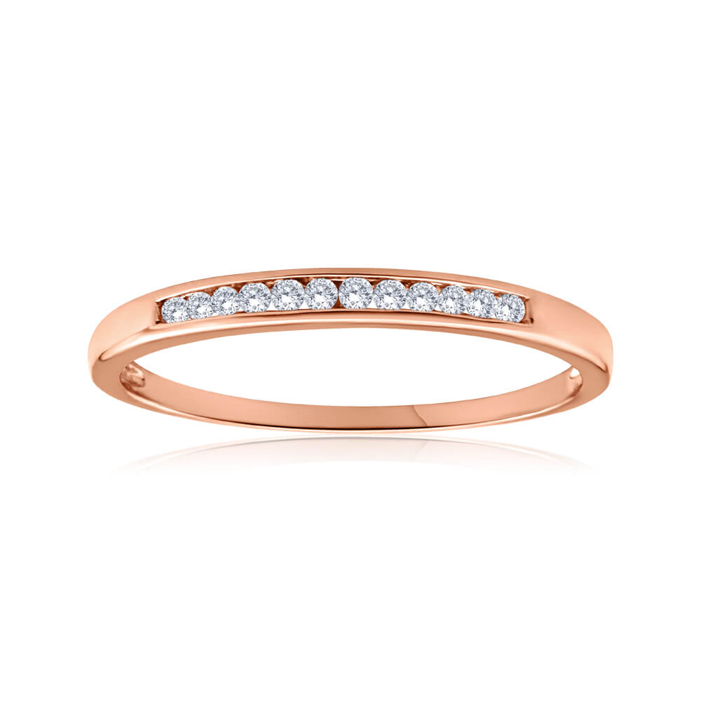 9ct Rose Gold Ring With 0.1 Carats Of Channel Set Diamonds