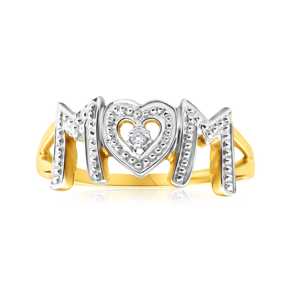 9ct Yellow Gold Beautiful Diamond Ring