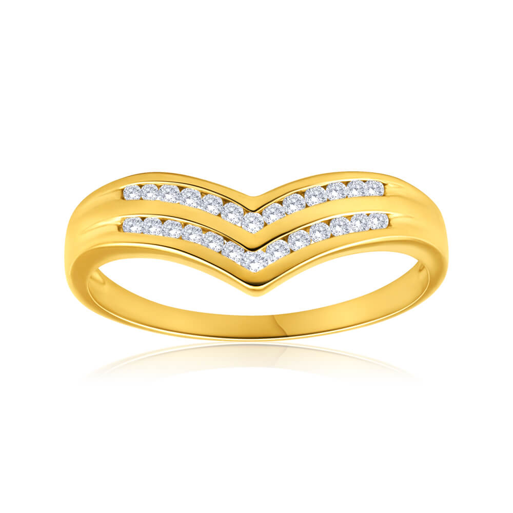 9ct Yellow Gold Classic Diamond Ring