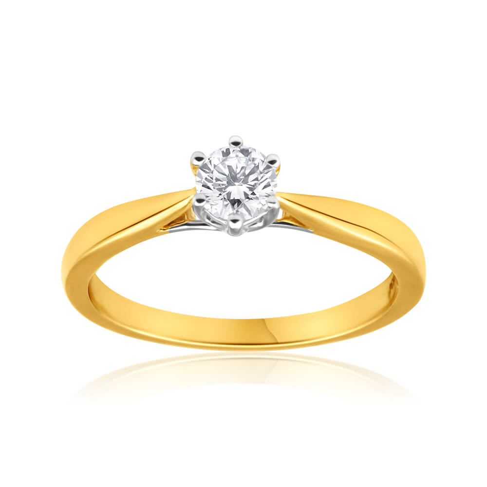 Flawless Cut 18ct Yellow Gold & White Gold Solitaire Ring With 0.4 Carat Diamond