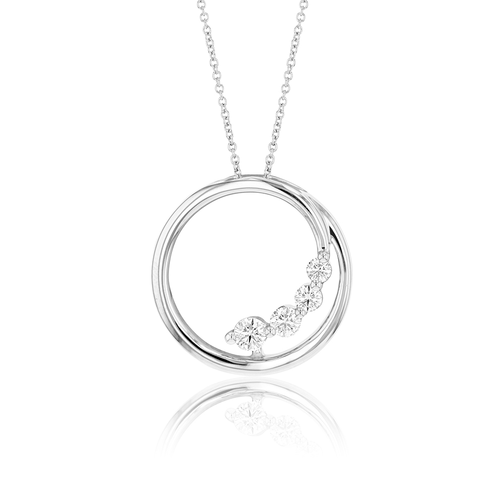 Flawless Cut 9ct White Gold Diamond Circle Pendant With Chain (TW=1/4 Carat)