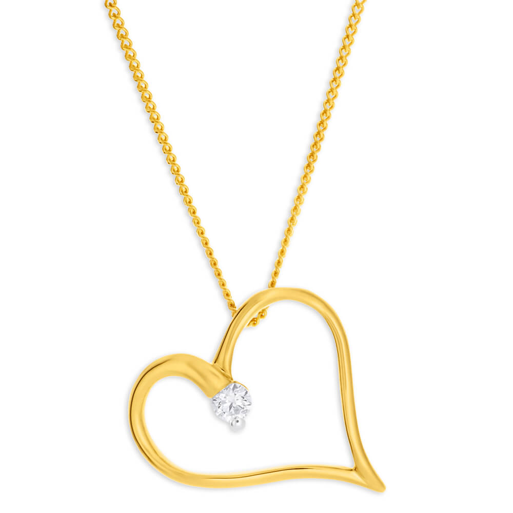 Flawless Cut 9ct Yellow Gold Diamond Pendant With Chain (TW=10-14pt)