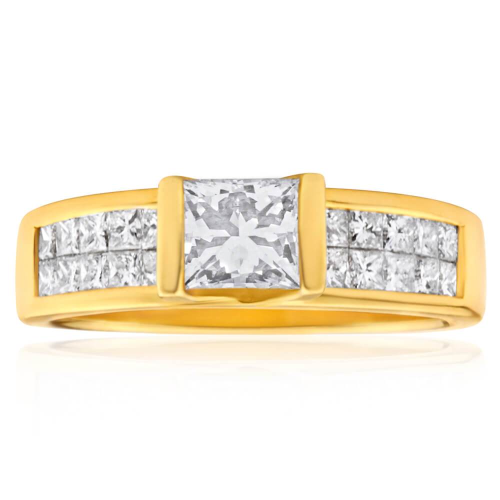 18ct Yellow Gold 'Princess Celia' Ring With 2 Carats Of Diamonds