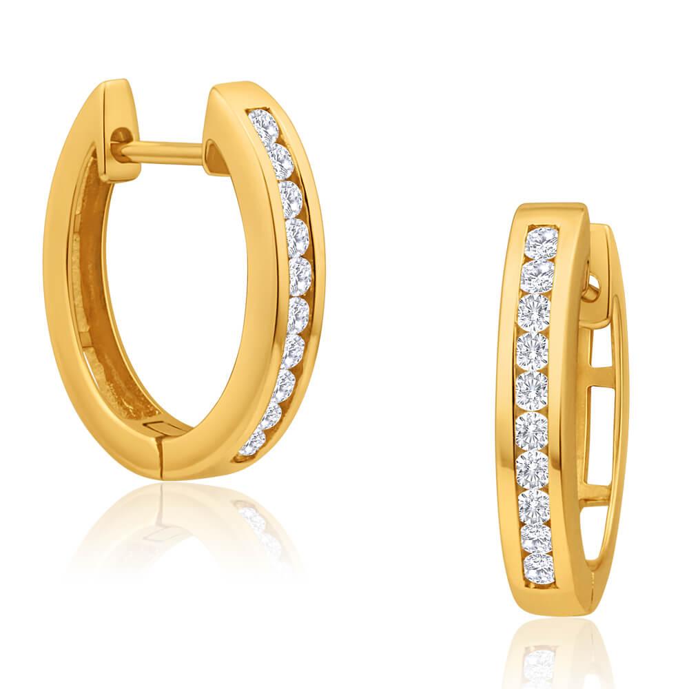9ct Yellow Gold Beautiful Diamond Hoop Earrings