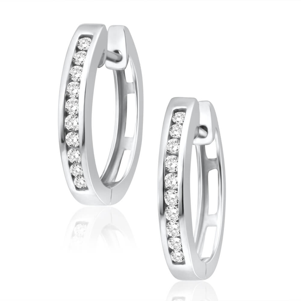 9ct Superb White Gold Diamond Hoop Earrings