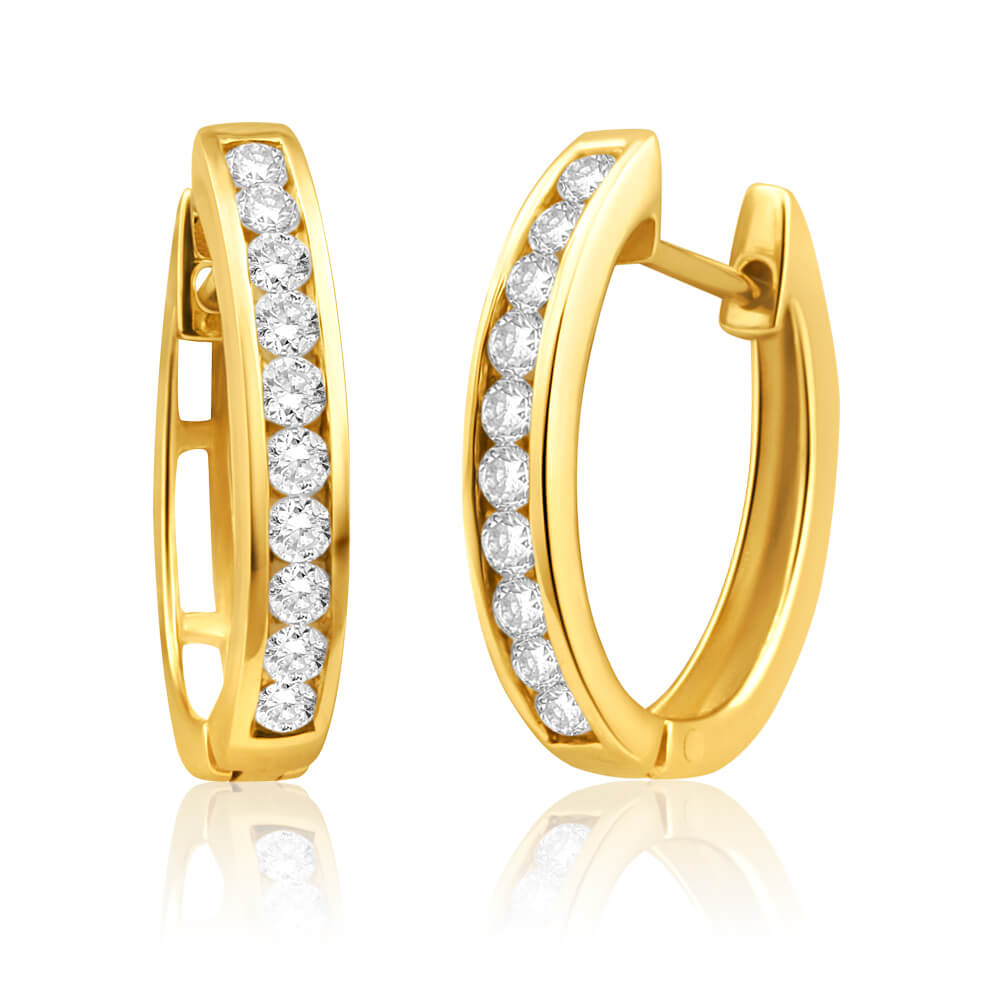 9ct Yellow Gold Stylish Diamond Hoop Earrings