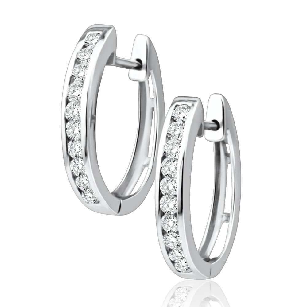 9ct White Gold Radiant Diamond Hoop Earrings