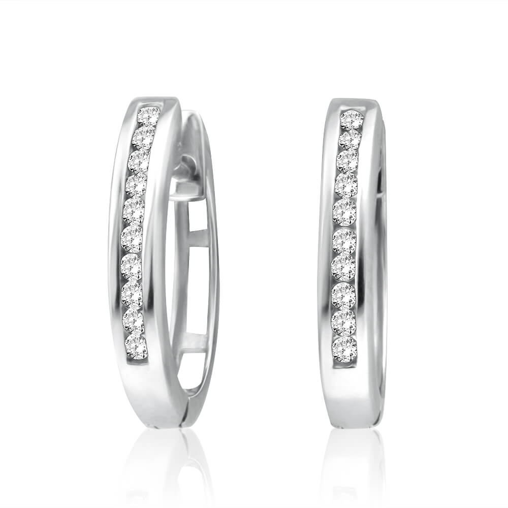 9ct Elegant White Gold Diamond Hoop Earrings