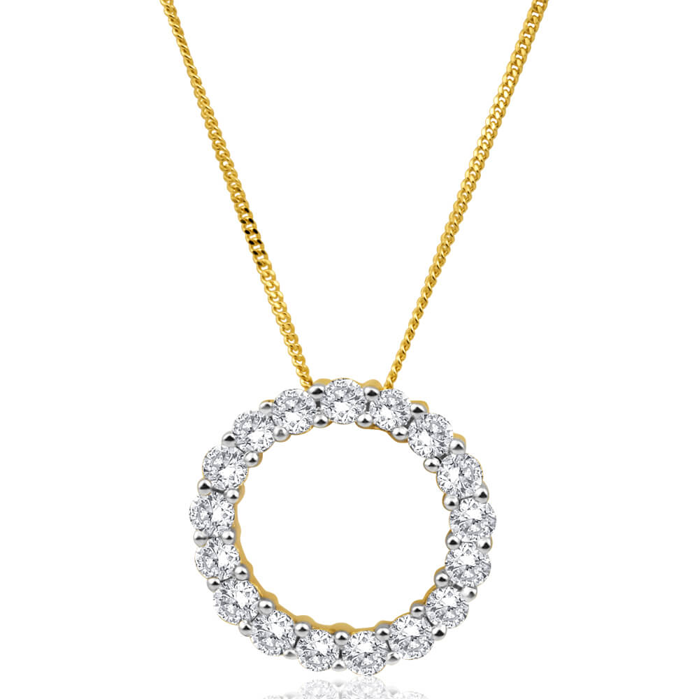 Flawless Cut 9ct Yellow Gold Diamond Circle Of Life Pendant With Chain (TW=1/2 Carat)