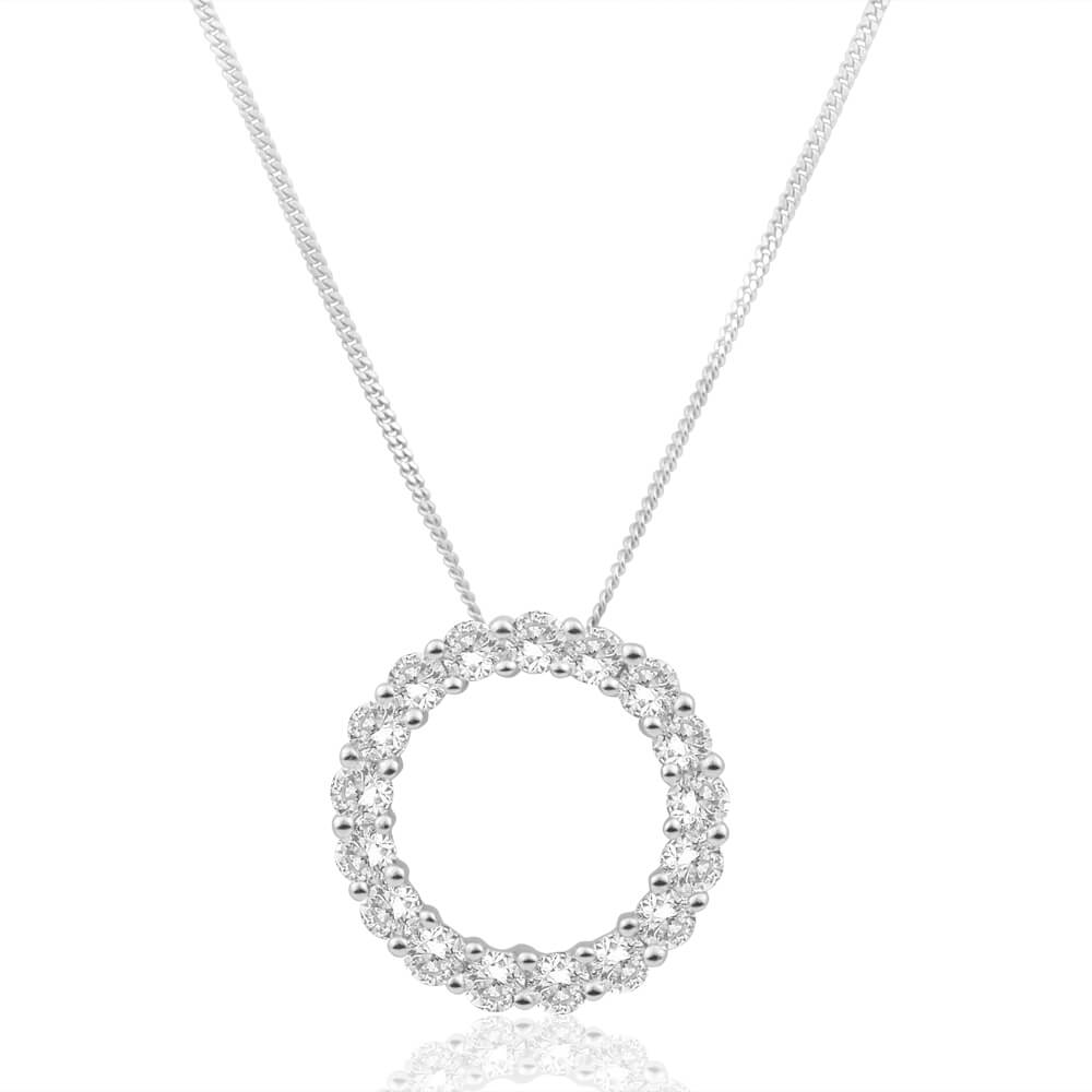 Flawless Cut 9ct White Gold Diamond Circle Of Life Pendant With Chain (TW=1/2 Carat)
