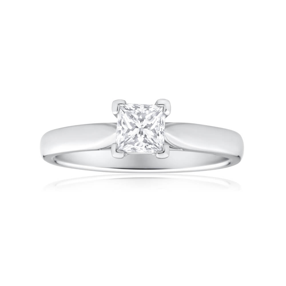 18ct White Gold Solitaire Ring With 3/4 Carat Diamond