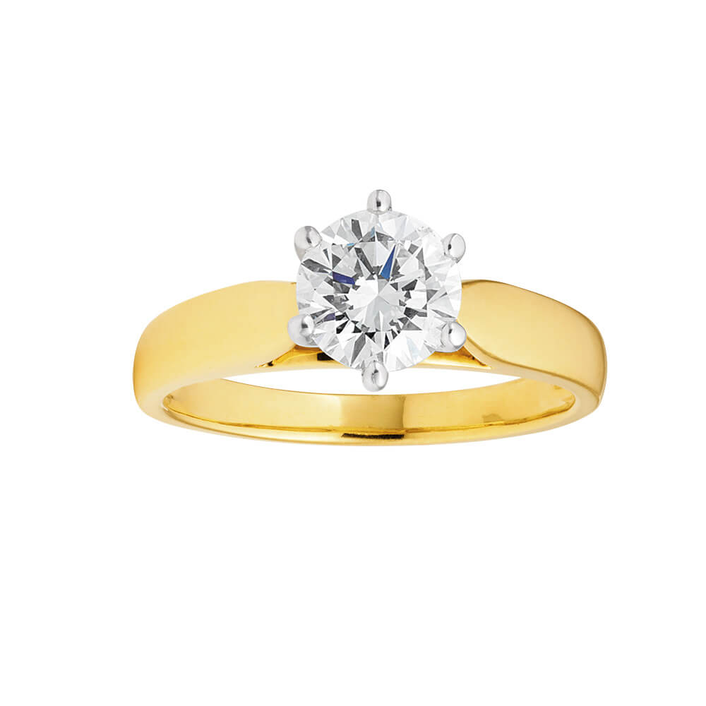 18ct Yellow Gold Ring With 1 Carat Certified Diamond