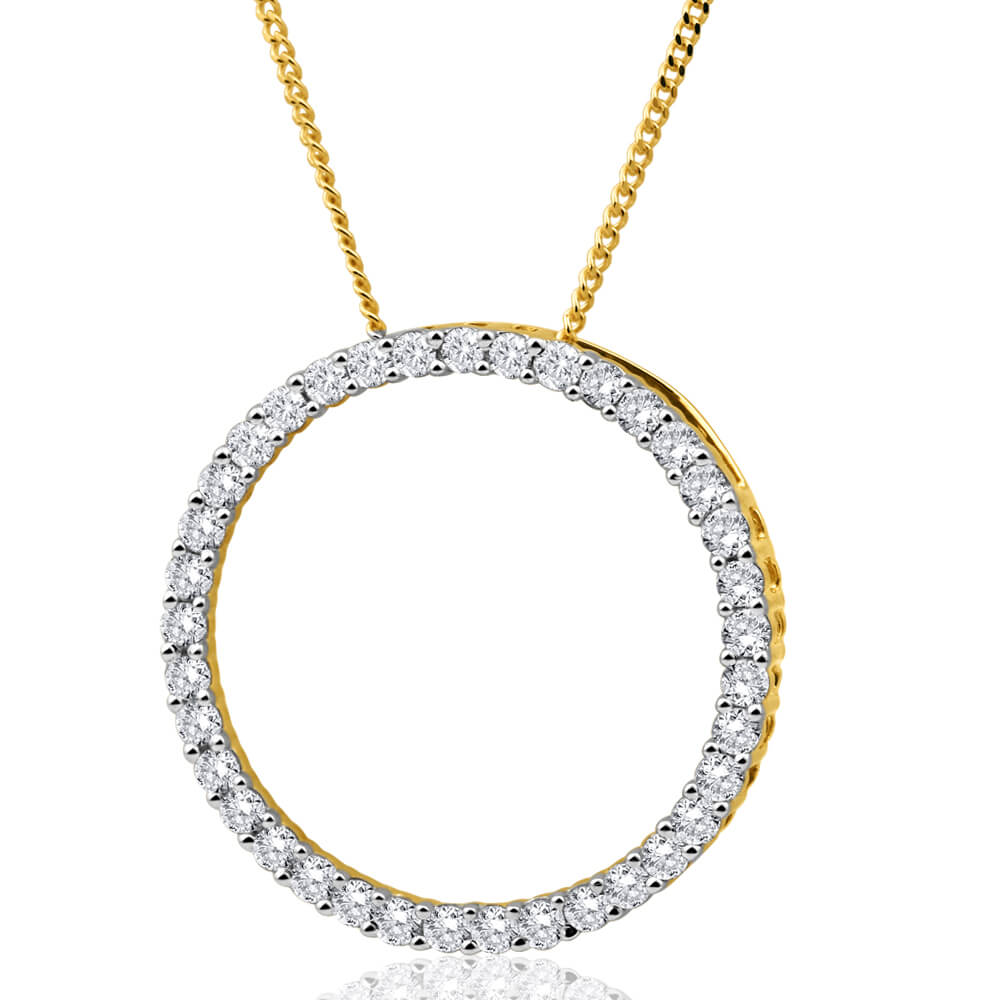 9ct Yellow Gold Enticing Diamond Pendant With Chain