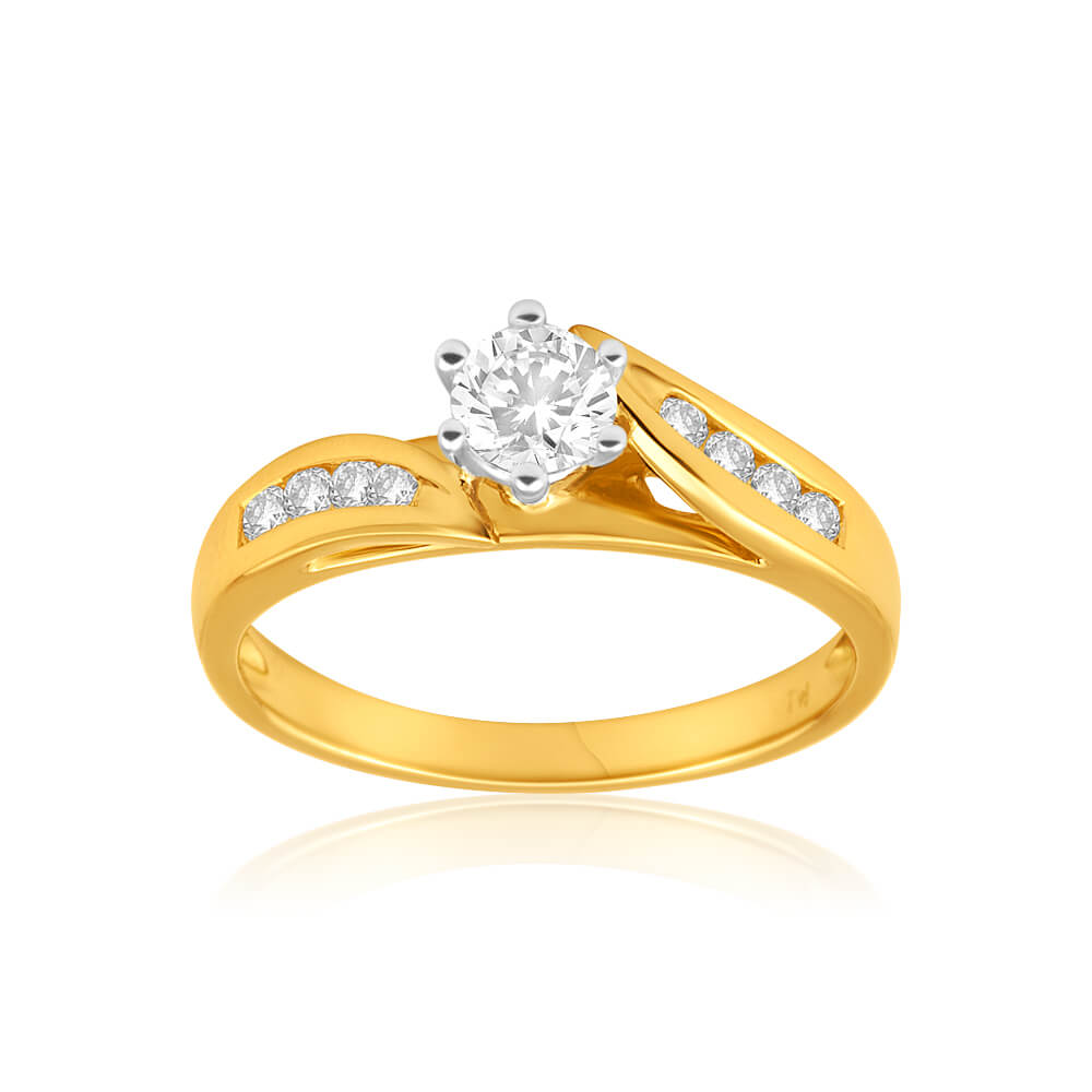18ct Yellow Gold Ring With 8 Brilliant Cut Diamonds Totalling 0.5 Carats