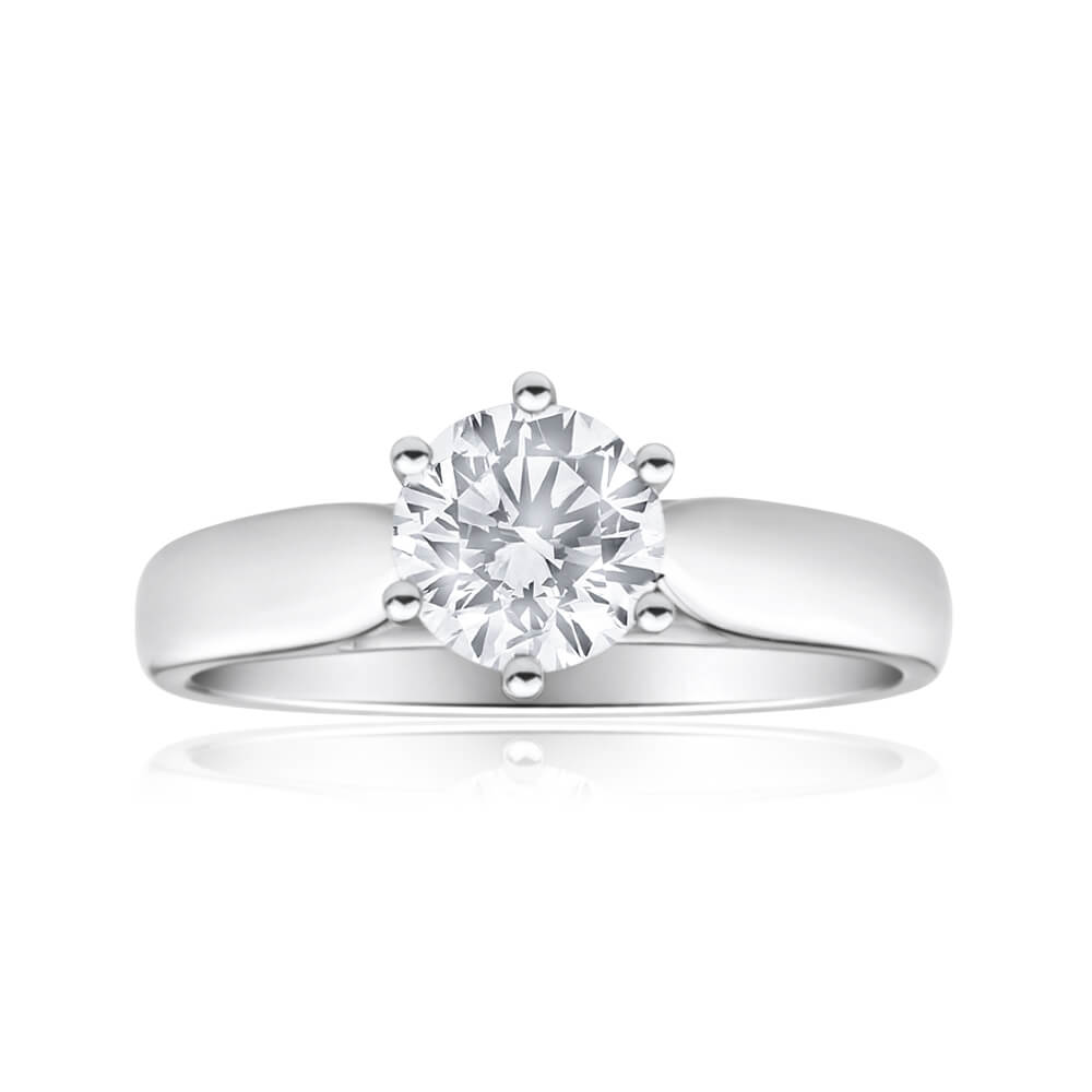 18ct White Gold Solitaire Ring With 1 Carat 6 Claw Set Brilliant Cut Diamond