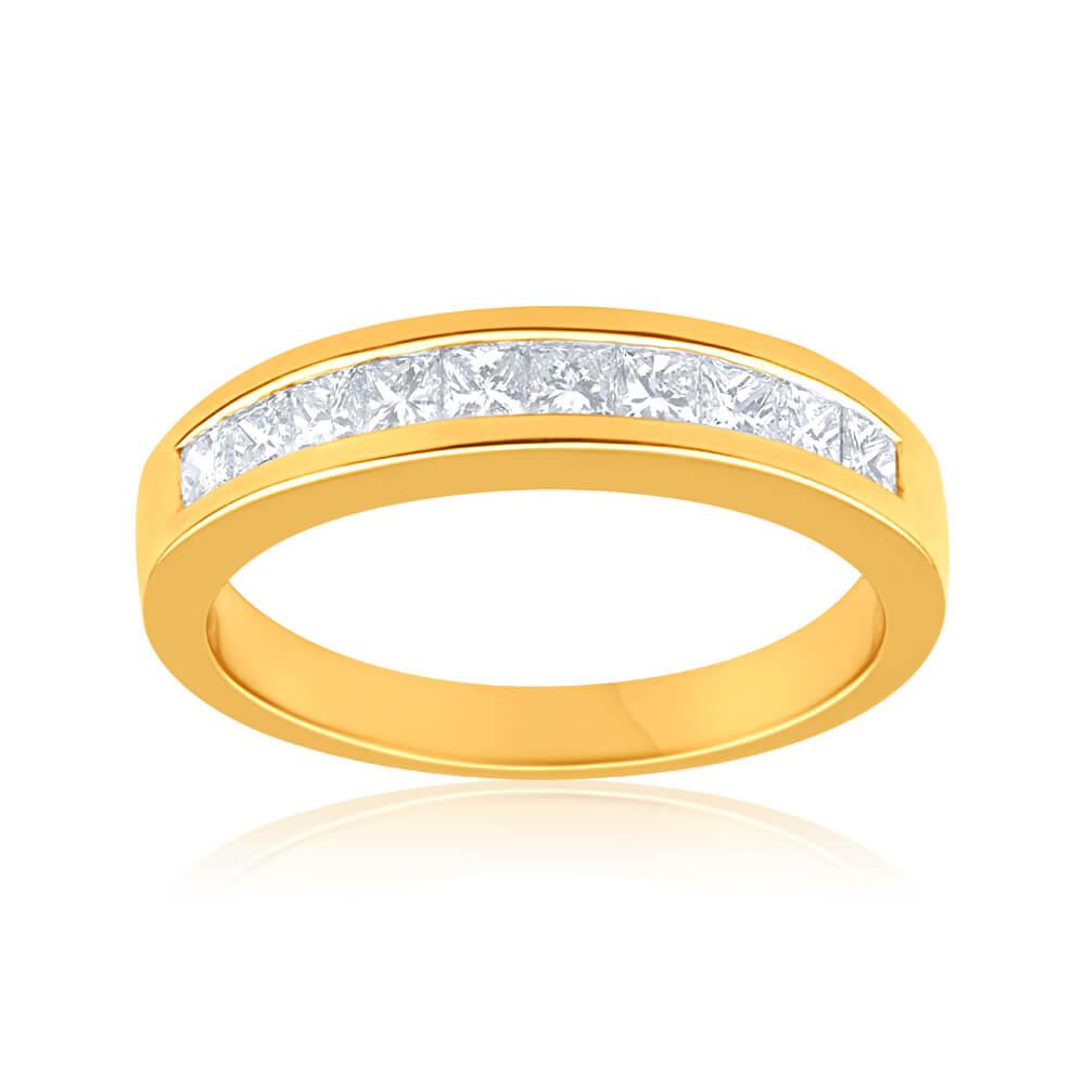 18ct Yellow Gold Ring With 0.5 Carats Of Princess Cut Diamonds