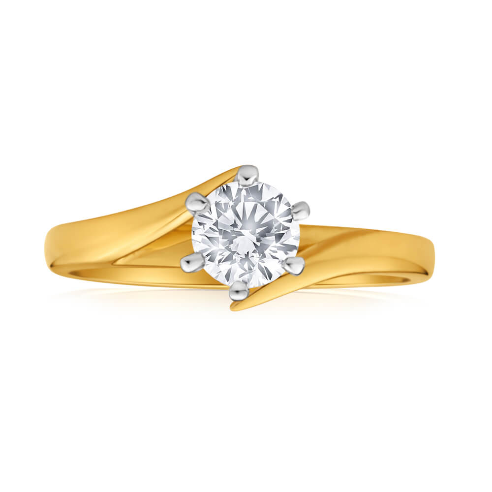 Certified Diamond 18ct Yellow Gold & White Gold Diamond Ring