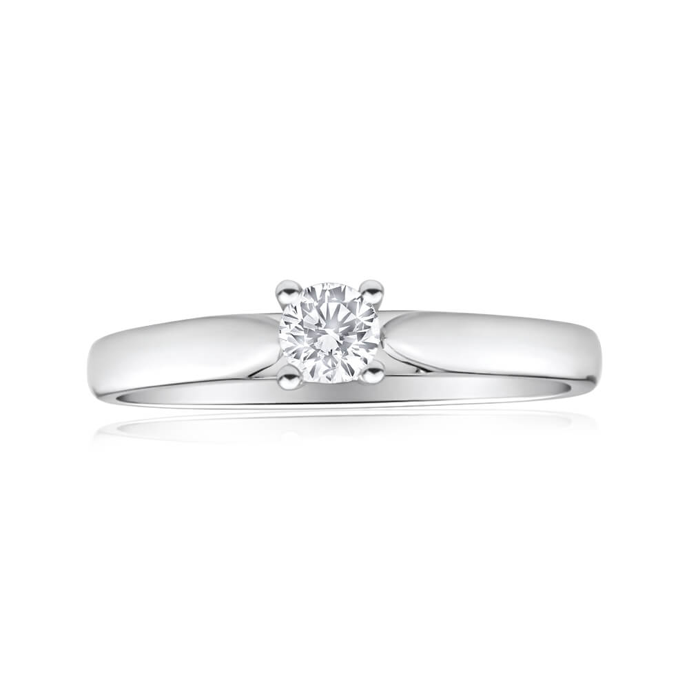 9ct White Gold Solitaire Ring With 0.2 Carat Diamond