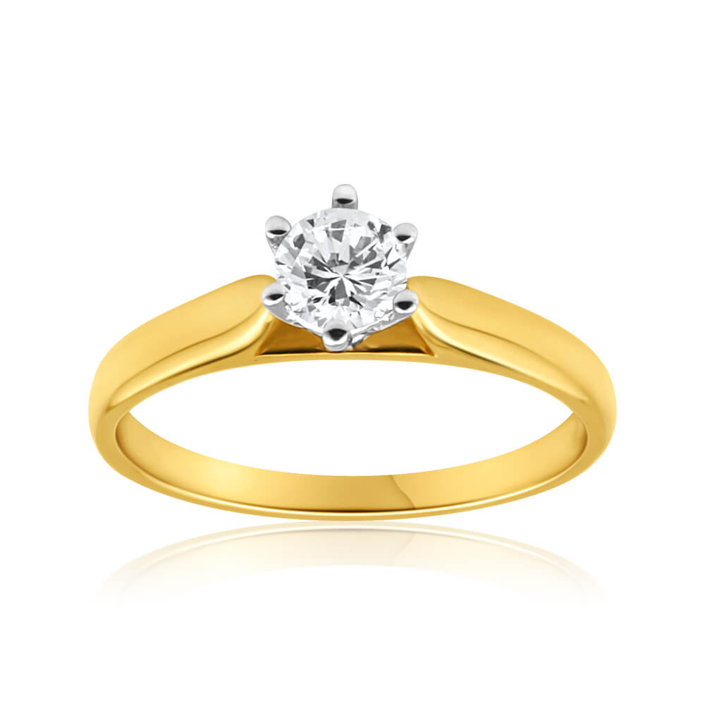 9ct Yellow Gold Solitaire Ring With 0.5 Carat Diamond