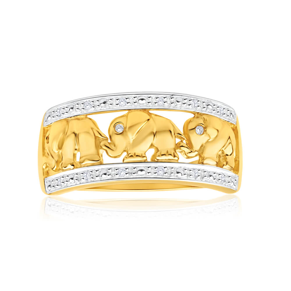 9ct Yellow Gold Stunning Elephant Diamond Ring