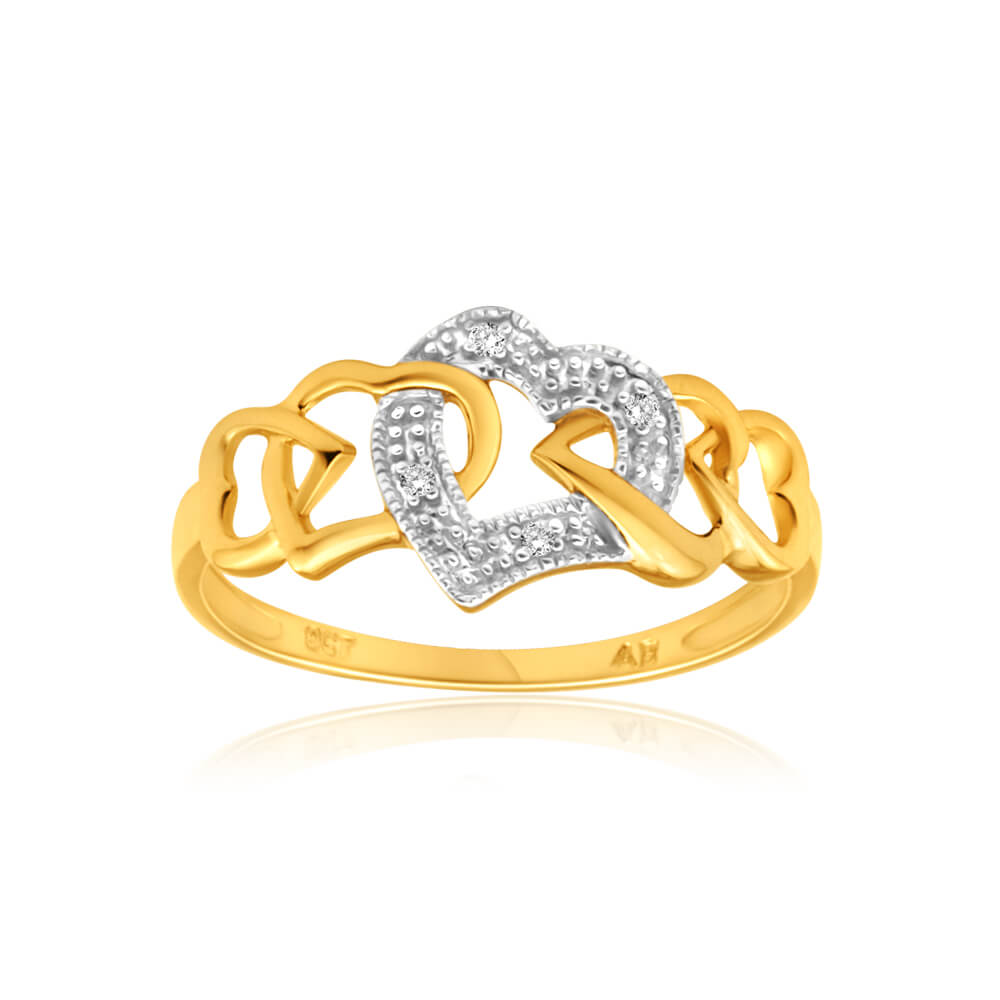 9ct Yellow Gold Heart Shaped Diamond Ring