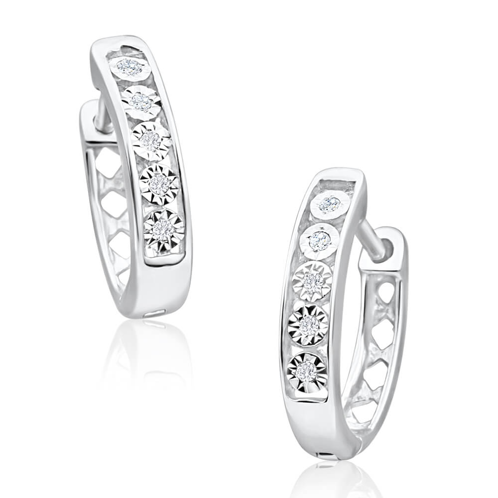 9ct White Gold Exquisite Diamond Hoop Earrings