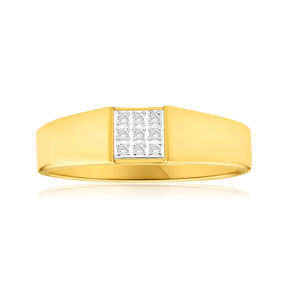 9ct Yellow Gold Diamond Ring Set With 9 Brilliant Cut Diamonds