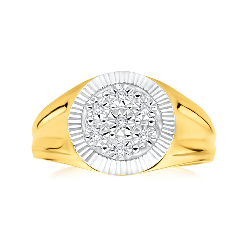 9ct Yellow Gold And Rhodium Gents Diamond Ring