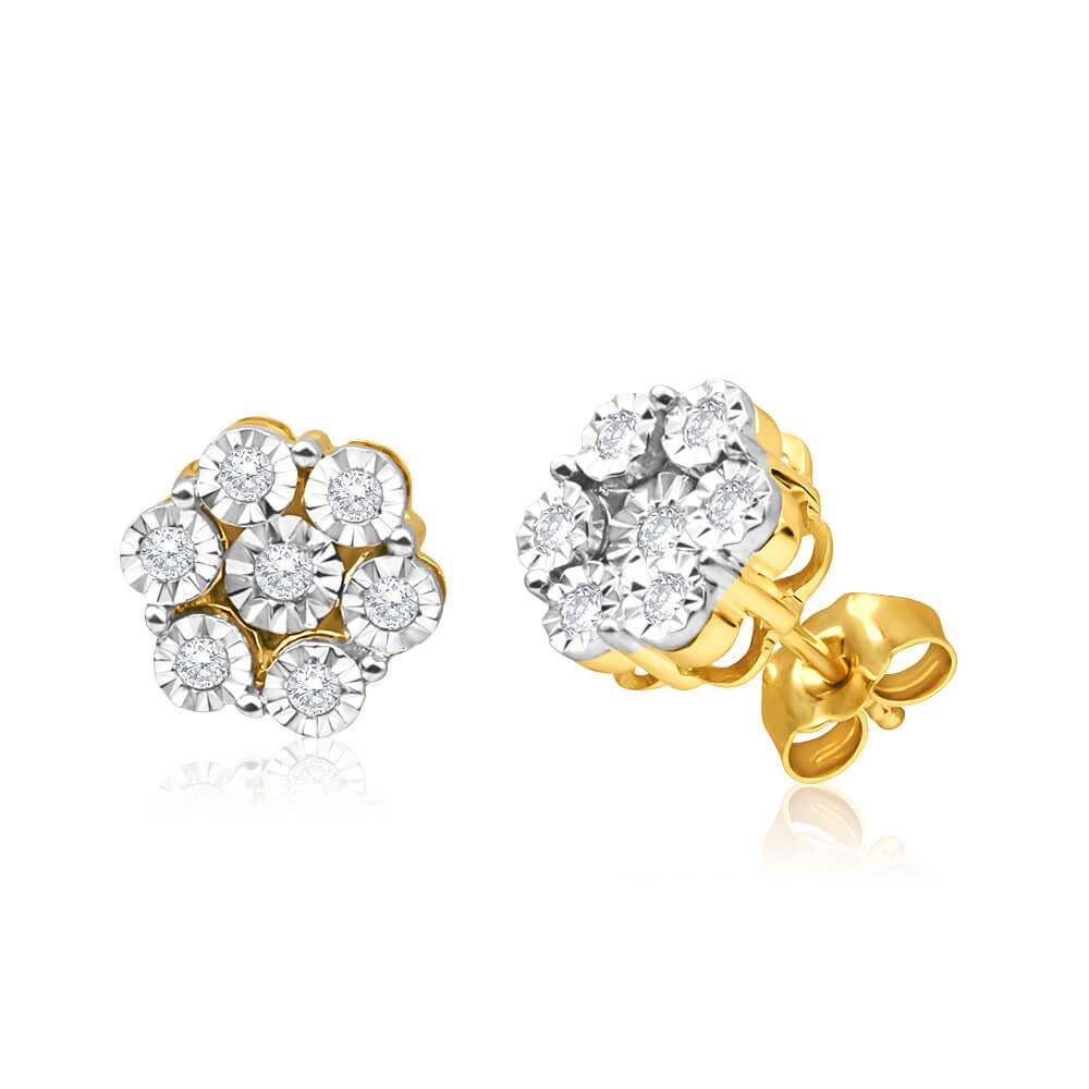 9ct Yellow Gold Lovely Diamond Stud Earrings