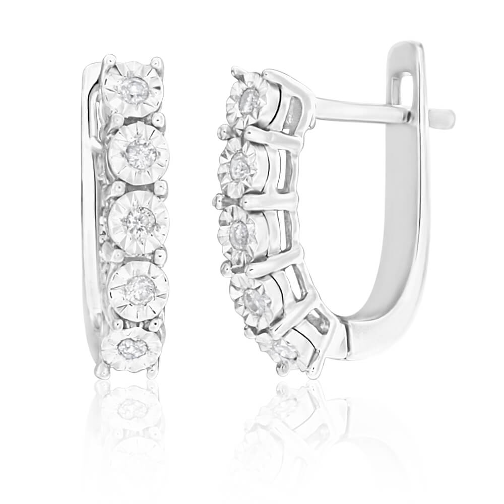 9ct White Gold Diamond Enticing Hoop Earrings