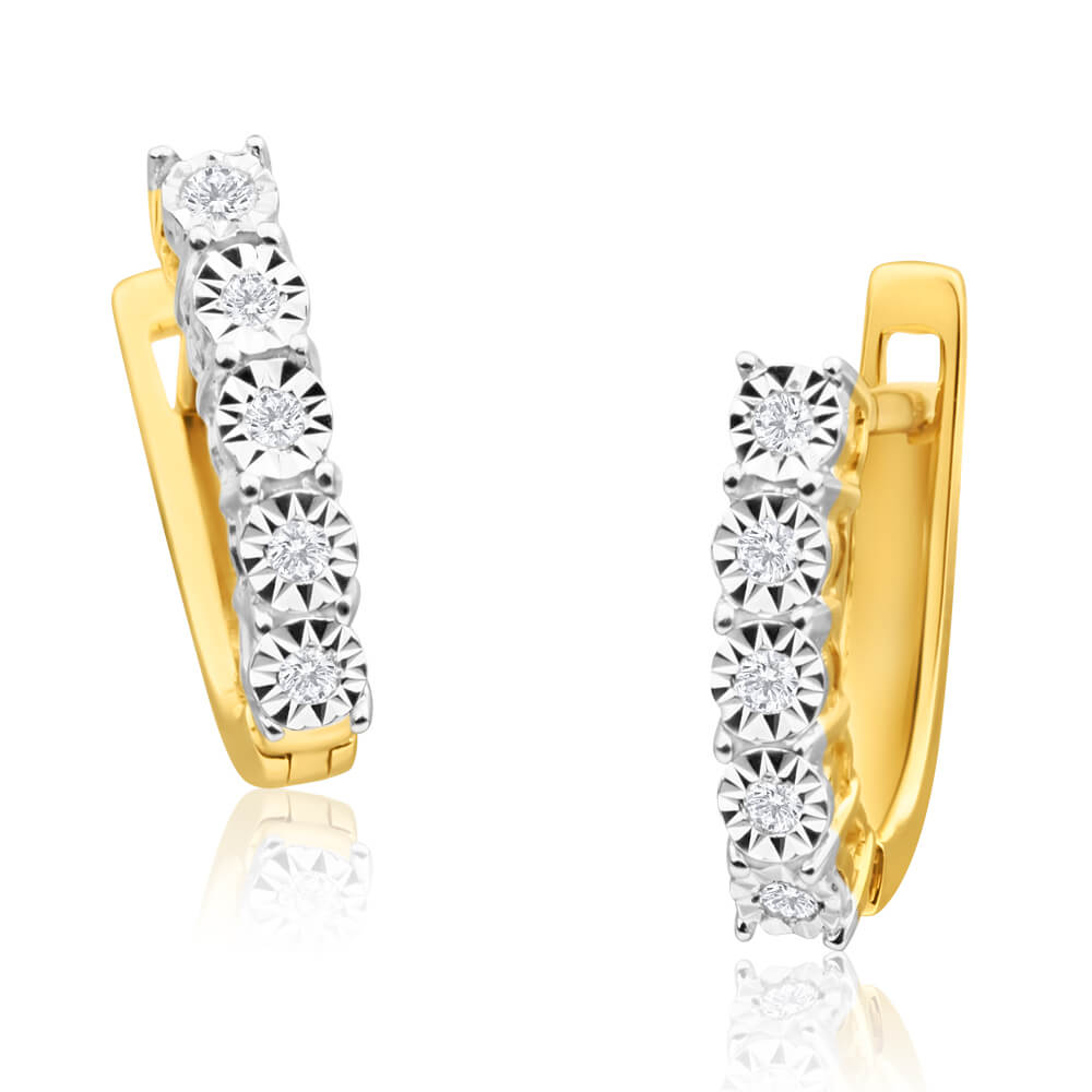 9ct Yellow Gold Wonderful Diamond Hoop Earrings