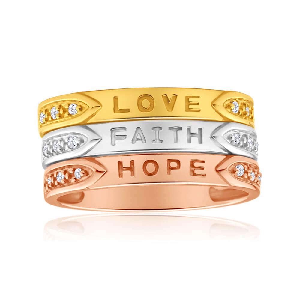 9ct Yellow Gold, White Gold & Rose Gold Diamond 3 Ring Set