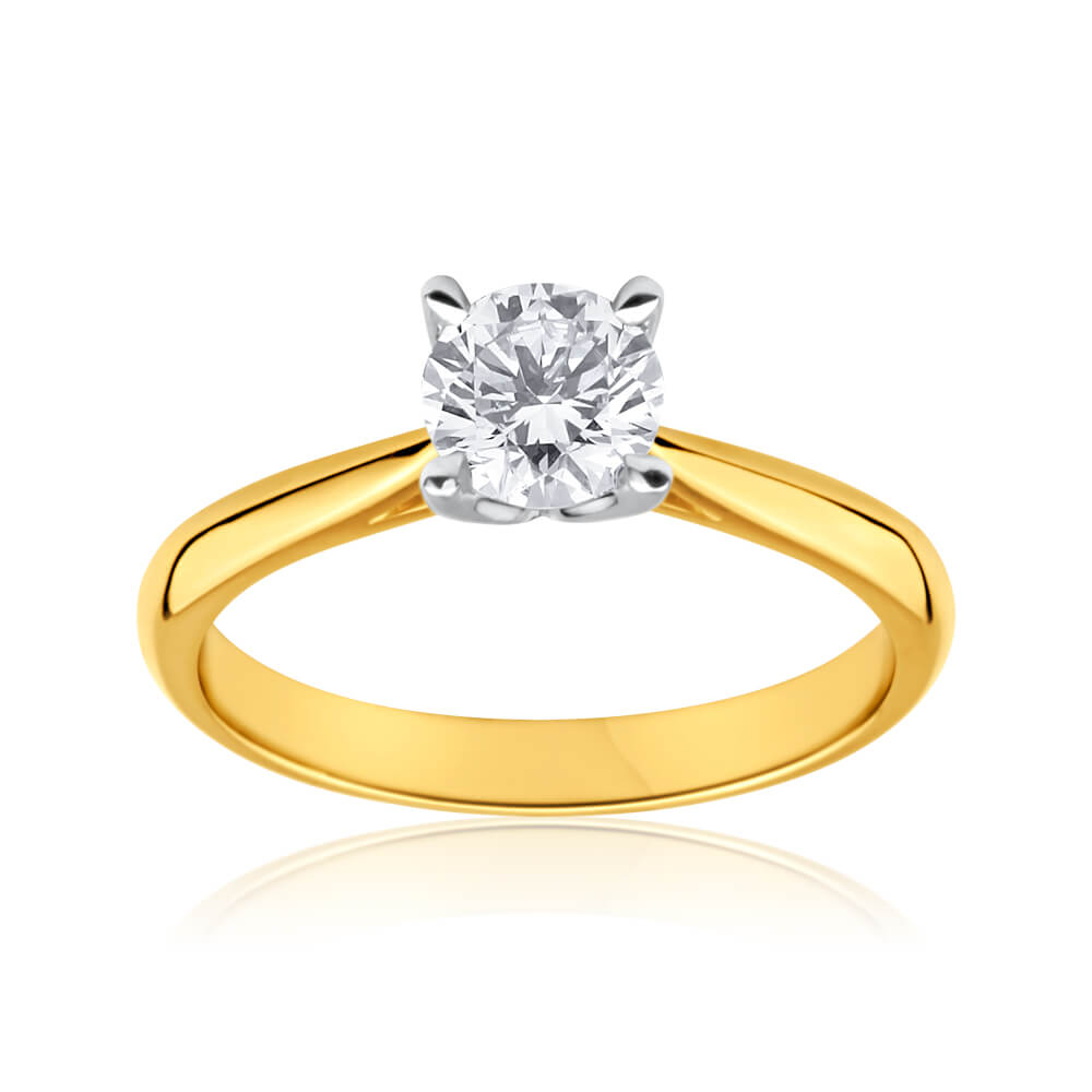 18ct Yellow Gold & White Gold 'Unity' Solitaire Ring With 1 Carat Diamond