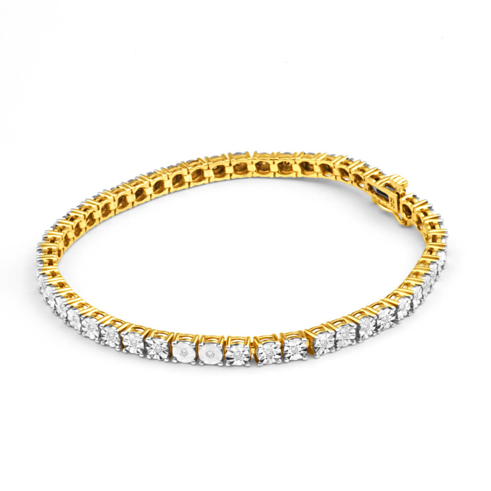 9ct Charming 1/4 Carat Yellow Gold Diamond 18cm Bracelet